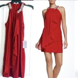 Red cocktail dress Adrianna Papell NWT4